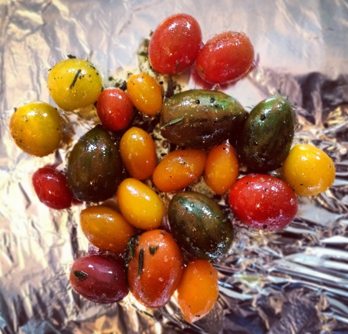 Glorious mixed exotic tomatoes from Woolies oiled, seasoned and ready to roast!