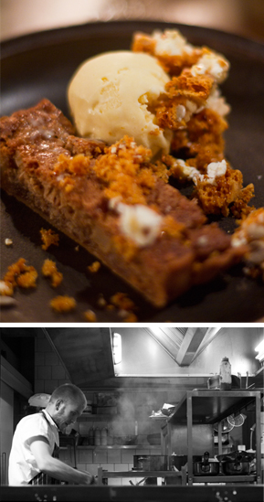 Quince & Almond tart with Malted Pop-Corn ice cream