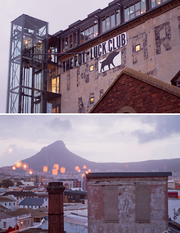 Panoramic views of the city of Cape Town from the Pot Luck Club
