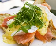 Soft poached eggs with Smoked Salmon and a rich Hollandaise sauce, served with a fresh crisp croissant.