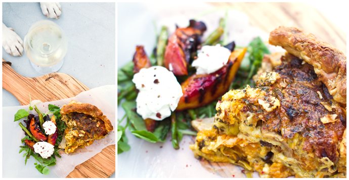 Butternut, Leek & Feta Quiche, with Nectarine & Chavroux Salad